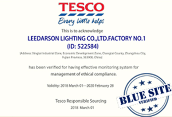 LEEDARSON Factory Awarded the Blue Rating by TESCO